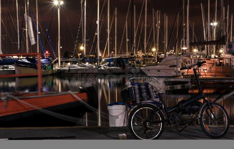 Haven bij nacht, visserij stock foto's