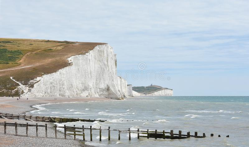 Haven Brow and Seven Sisters from the beach at Cuckmere Haven, E royalty free stock photos