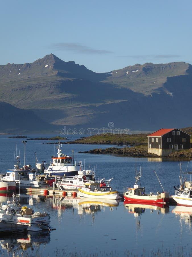 Haven Djupivogur IJsland stock foto's
