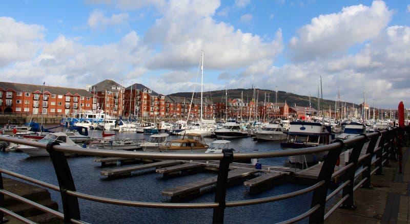 Haven en bootwerf van Swansea, Wales, het UK stock fotografie