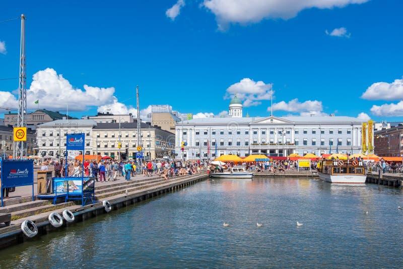Haven en Marktvierkant Helsinki, Finland stock fotografie