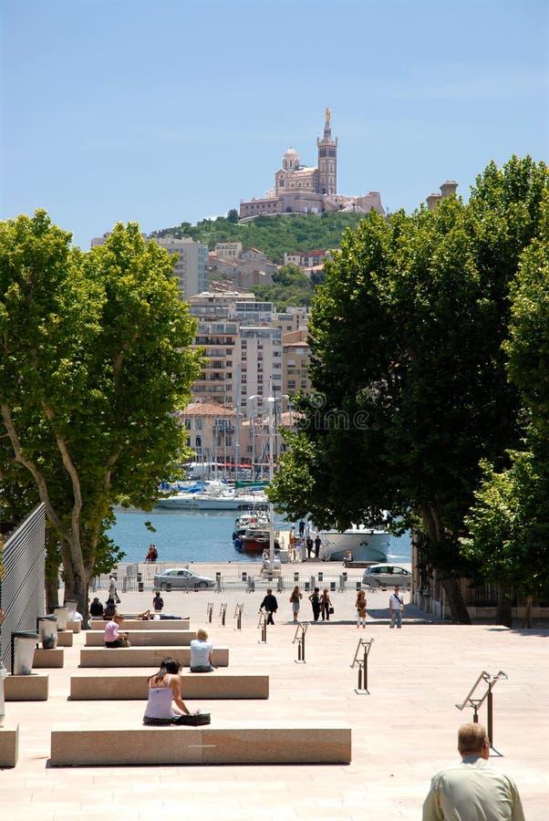 Haven en stad van Marseille stock foto's
