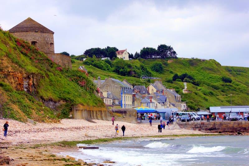 Haven Engelse bessin in Normandië een historische plaats royalty-vrije stock foto