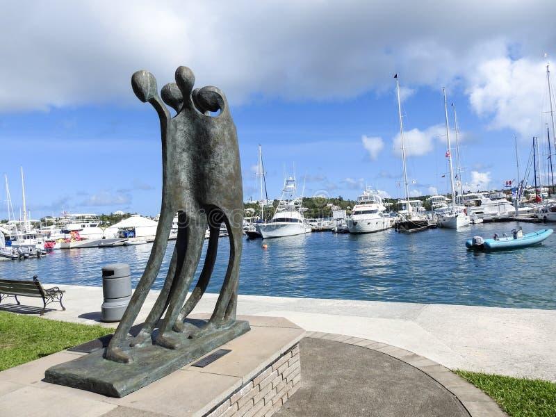 Haven in Hamilton, Barr& x27; s de Baaipark, Bermudas & x22; Wij Arrive& x22; Standbeeld stock foto