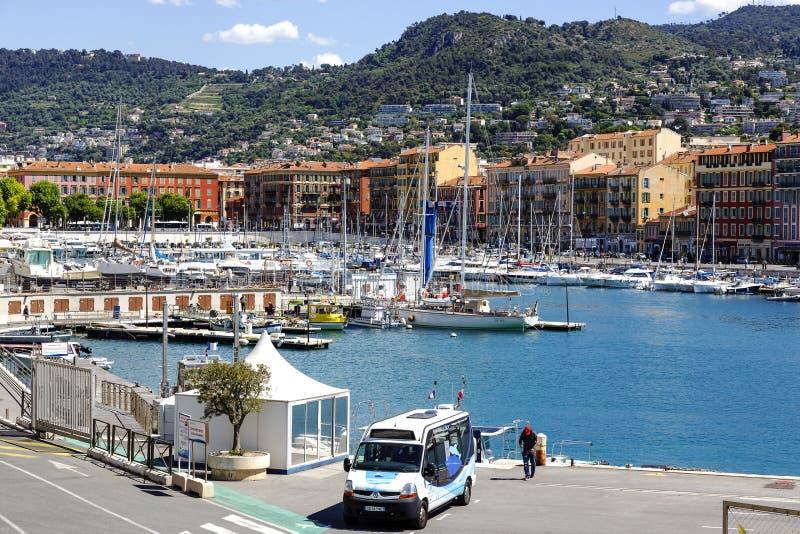 Haven Lympia in Nice in Frankrijk royalty-vrije stock foto