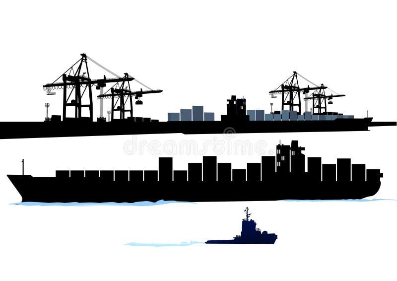 Haven met containerschip vector illustratie