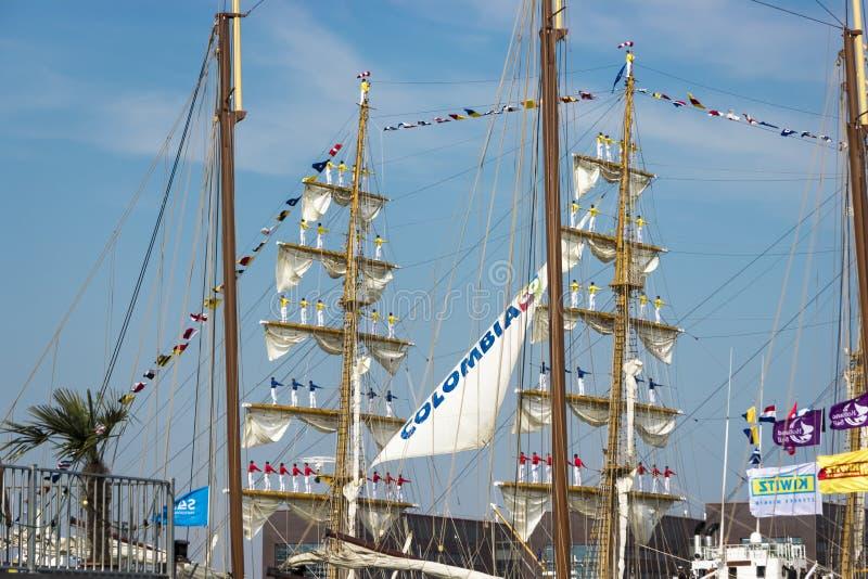 Haven van Amsterdam, Noord-Holland/Nederland - Augustus 23-08-2015 royalty-vrije stock fotografie