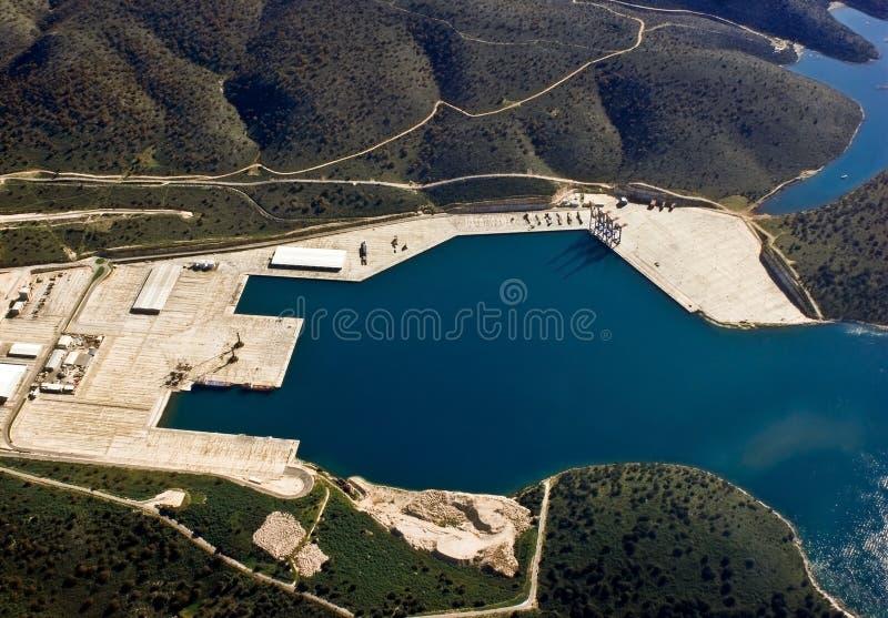 Haven van Astakos, Griekenland, luchtmening stock foto