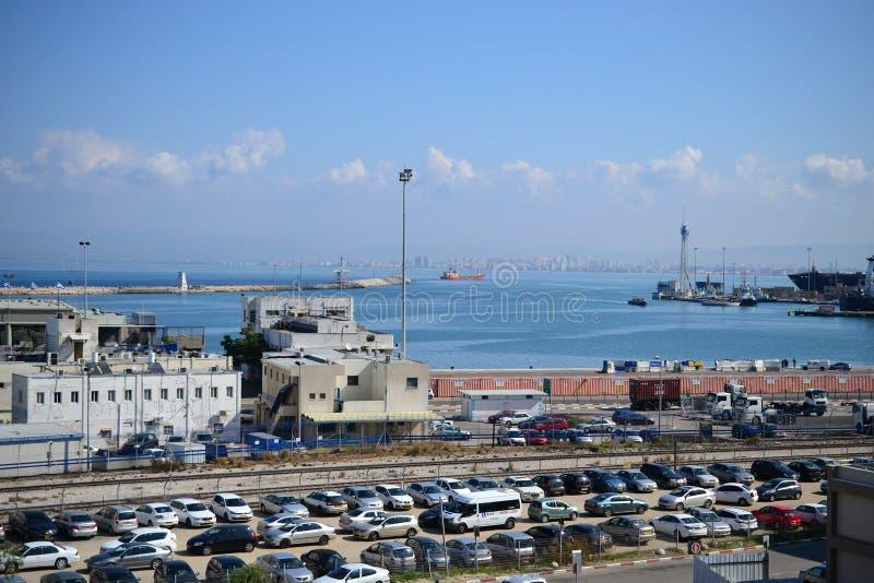 Haven van Haifa, overzeese mening van de stad van Haifa, van de binnenstad, Israël royalty-vrije stock afbeelding