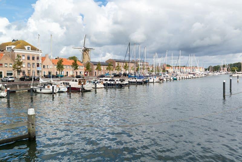 Haven van Hellevoetsluis, Nederland stock foto's