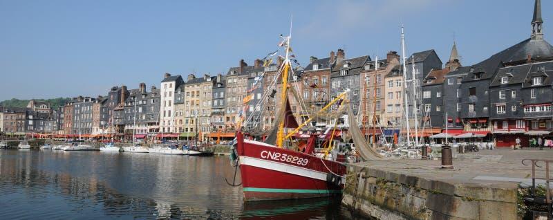 Haven van Honfleur in Normandie stock foto