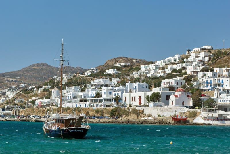 Haven van Mikonos-Stad, Eiland Mykonos, de Eilanden van Cycladen stock fotografie