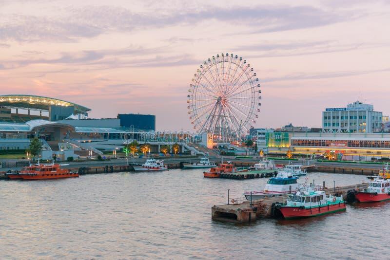Haven van Nagoya, in Ise Bay wordt de gevestigd, is grootste en bezigste t dat stock foto
