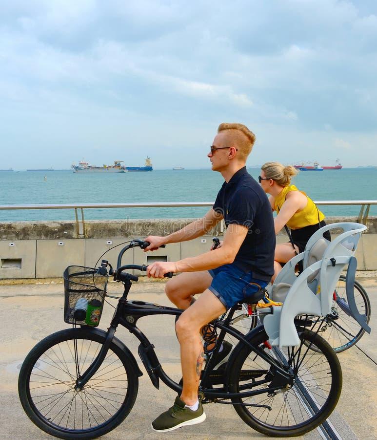 Haven van paar de berijdende bycicles Singapore royalty-vrije stock foto's
