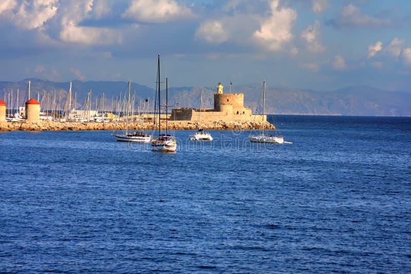 Haven van Rhodos City.Greece. Landschap stock foto's
