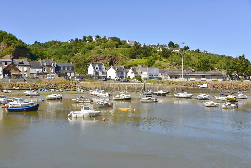 Haven van Saint Brieuc in Frankrijk stock foto's