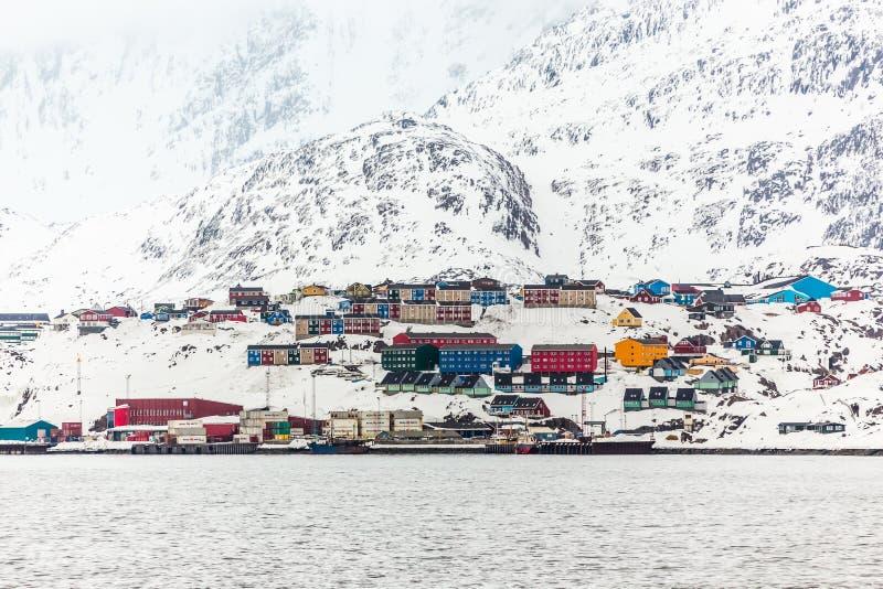Haven van Sisimiut de 2de grootste Greenlandic stad royalty-vrije stock afbeelding