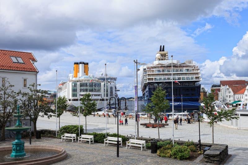Haven van Stavanger, Noorwegen. stock afbeeldingen