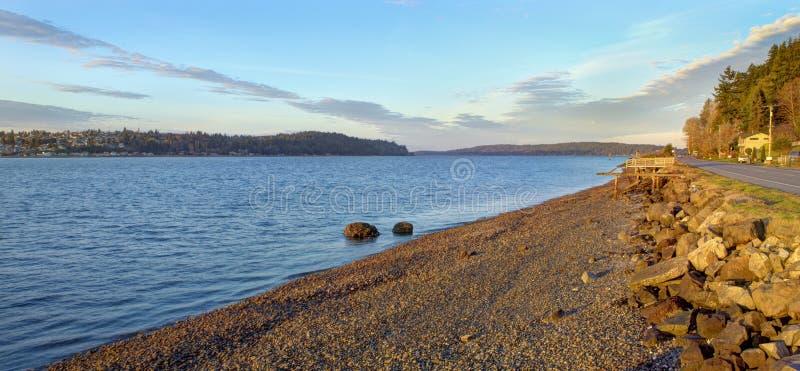 Havenboomgaard, WA-de mening van de waterkant van de Baaistraat van Puget Sound royalty-vrije stock fotografie