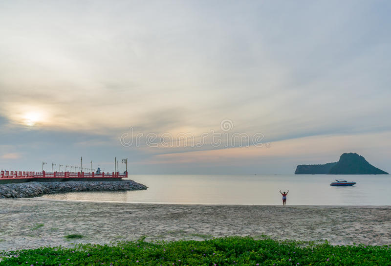 Havengebied Ao Prachuap, de provincie van Prachuap Khiri Khan in Zuidelijk Thailand royalty-vrije stock foto