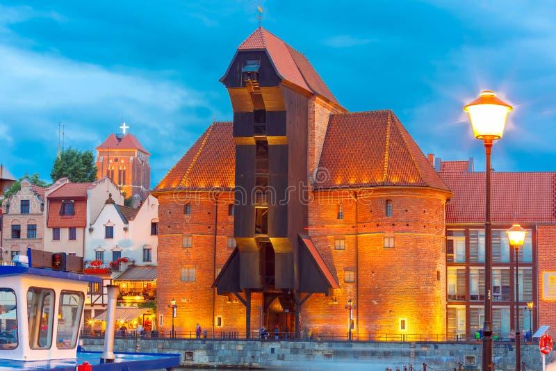 Havenkraan en stadspoort Zuraw, Gdansk, Polen stock afbeeldingen