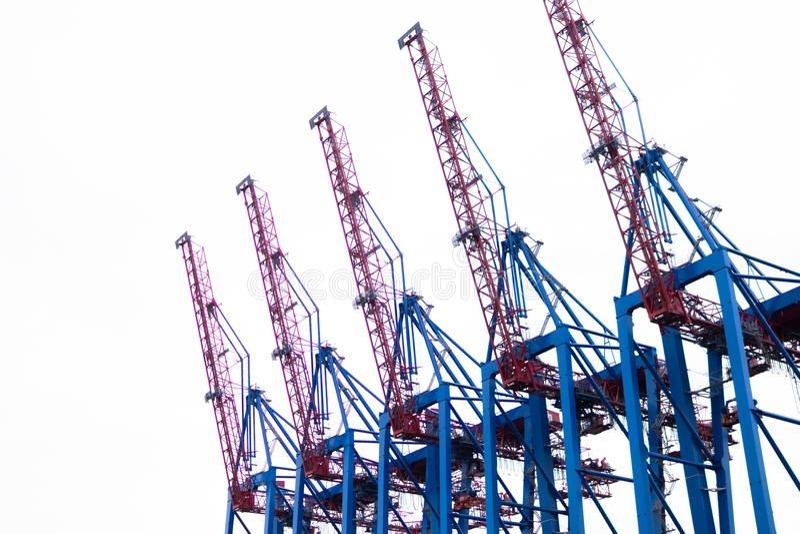 5 havenkranen stock afbeelding