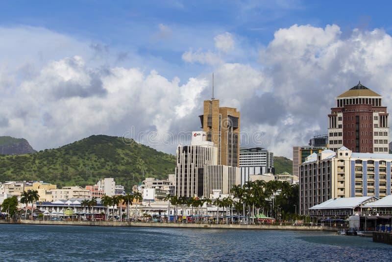 Havenlouis cityscape, eiland Mauritius stock fotografie