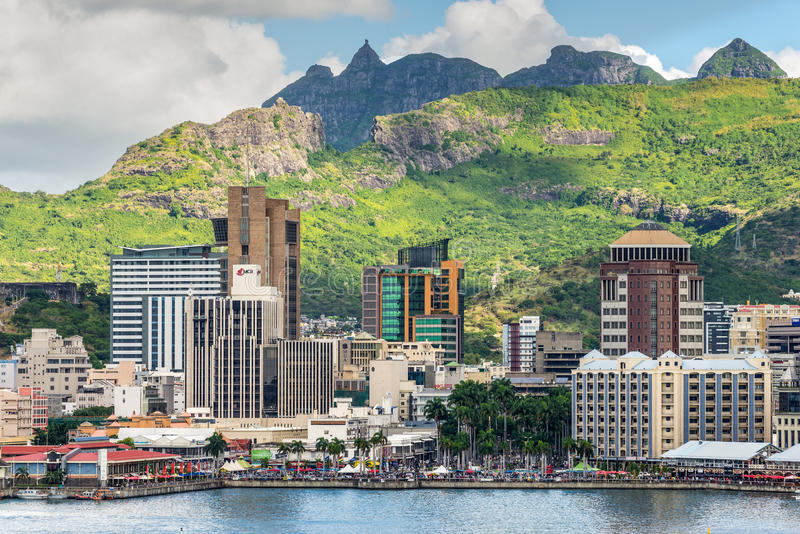 Havenlouis cityscape, Mauritius royalty-vrije stock foto