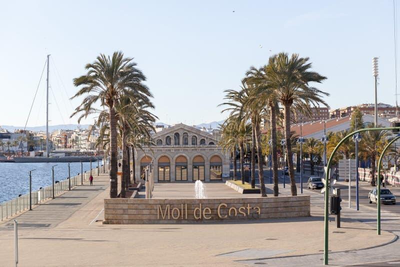 Havenmening, dok, moll DE costa in Tarragona, Spanje royalty-vrije stock afbeeldingen