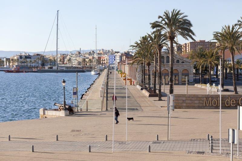 Havenmening, dok, moll DE costa in Tarragona, Spanje royalty-vrije stock foto