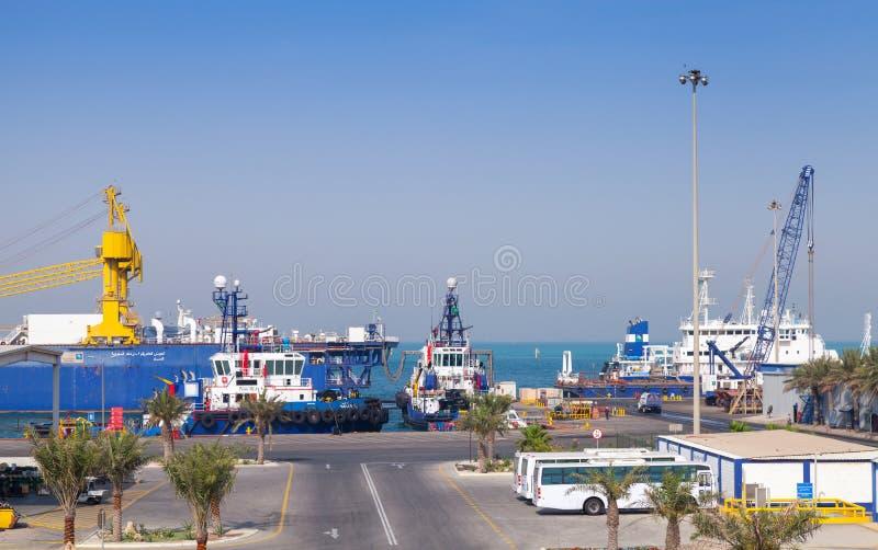 Havenmening met vastgelegde schepen, Saudi-Arabië stock foto