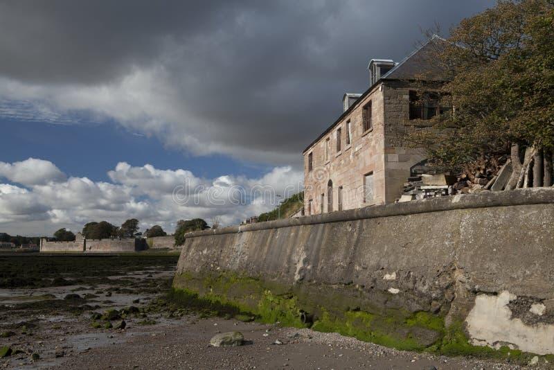 Havenmuren en vestingwerken Berwick op Tweed, Northumberland, Engeland stock foto