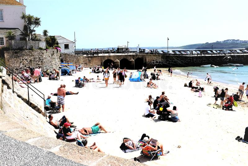 Havenstrand, St Ives, Cornwall, het UK royalty-vrije stock afbeelding