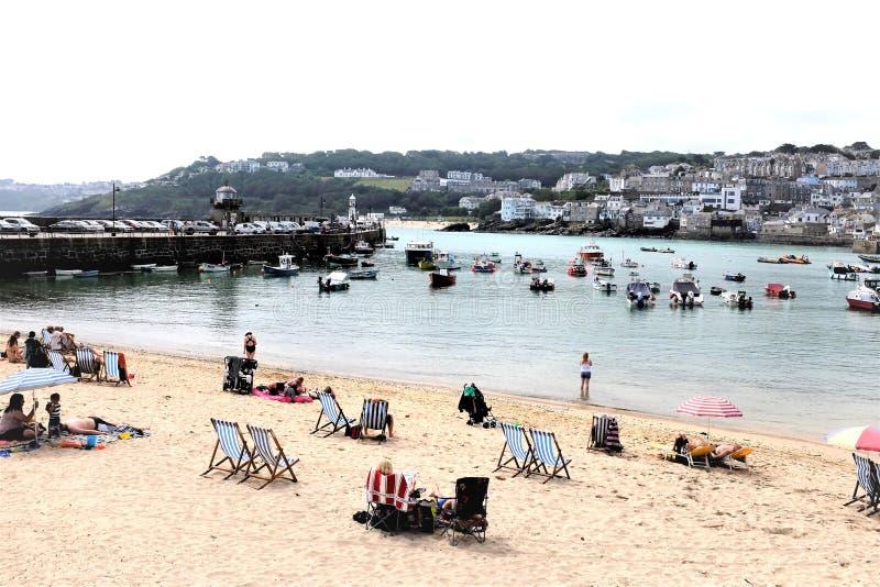 Havenstrand, St Ives, Cornwall, het UK stock foto