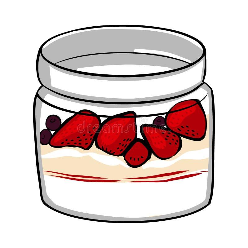 Haver met verse rode aardbeien en yoghurt in glaskruik Gezond natuurlijk heerlijk ontbijtgedeelte havervlokken met bessen royalty-vrije illustratie