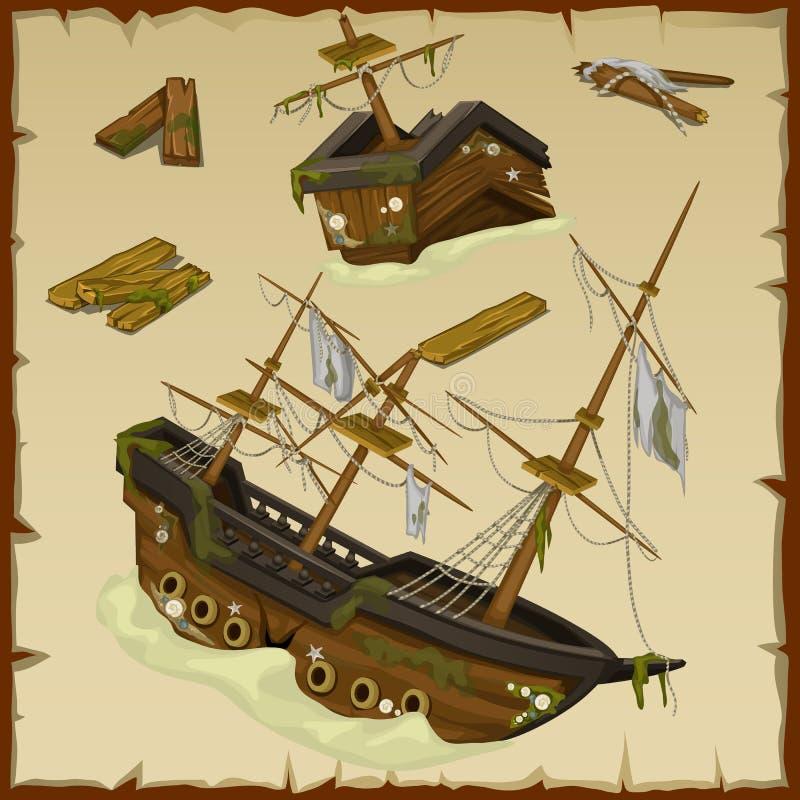 Haveri av det forntida skeppet och dess haveri vektor illustrationer