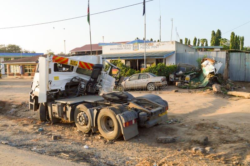 Haveri av lastbiltraktoren framme arkivbilder