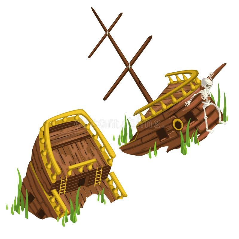 Haveriet av skeppet, eftersänder delen och fostrar fragmentet royaltyfri illustrationer