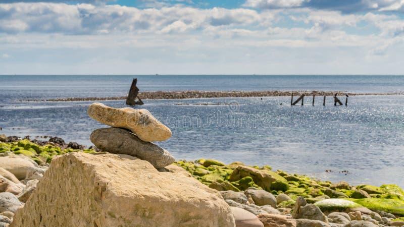 Haveriet av slyna, Osmington fjärd, Jurassic kust, Dorset, UK royaltyfria bilder
