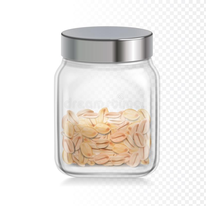 Havervlokken, havermeel in glaskruik Gezonde natuurlijke ontbijthaver in een kruik vector realistische illustratie stock illustratie