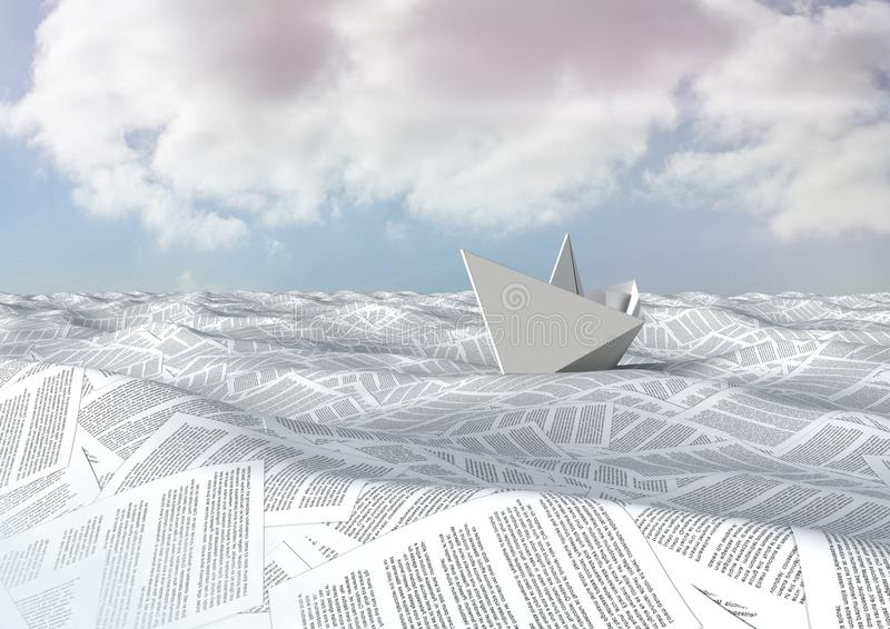 havet av dokument under himmel fördunklar med det pappers- fartyget stock illustrationer