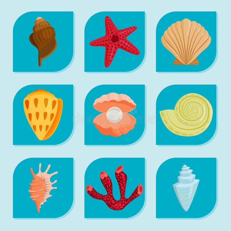 Havet beskjuter den marin- tecknade filmen mussla-SHELL royaltyfri illustrationer