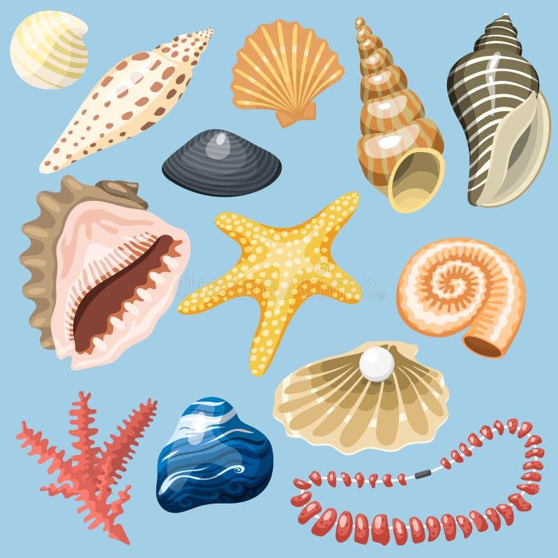Havet beskjuter den marin- tecknade filmen mussla-SHELL och illustrationen för vektor för havsjöstjärnacoralline vektor illustrationer