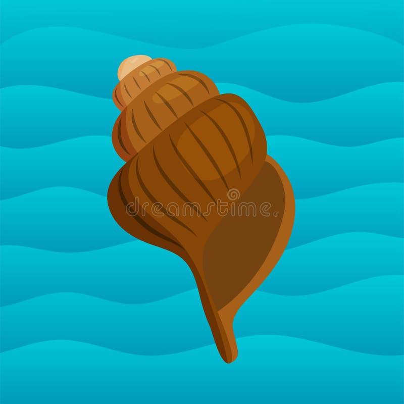 Havet beskjuter den marin- tecknade filmen mussla-SHELL och illustrationen för vektor för havsjöstjärnacoralline stock illustrationer