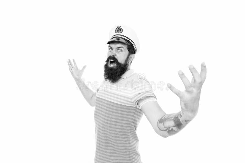 Havet ger mig vingar Strålningsgaller, kommando Sjökapten isolerad på vitt Havskung Meddela och upptäcka royaltyfri fotografi