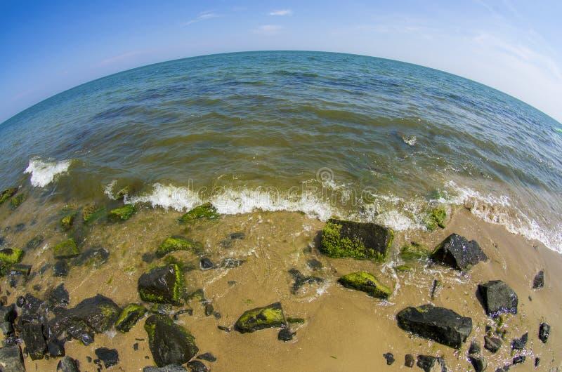 Havet landskap Fisheye lins arkivbild