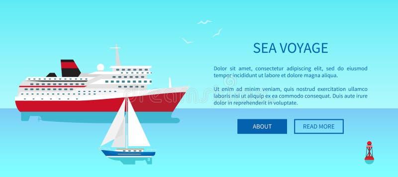 Havet reser den befordrings- affischen, modern yacht royaltyfri illustrationer