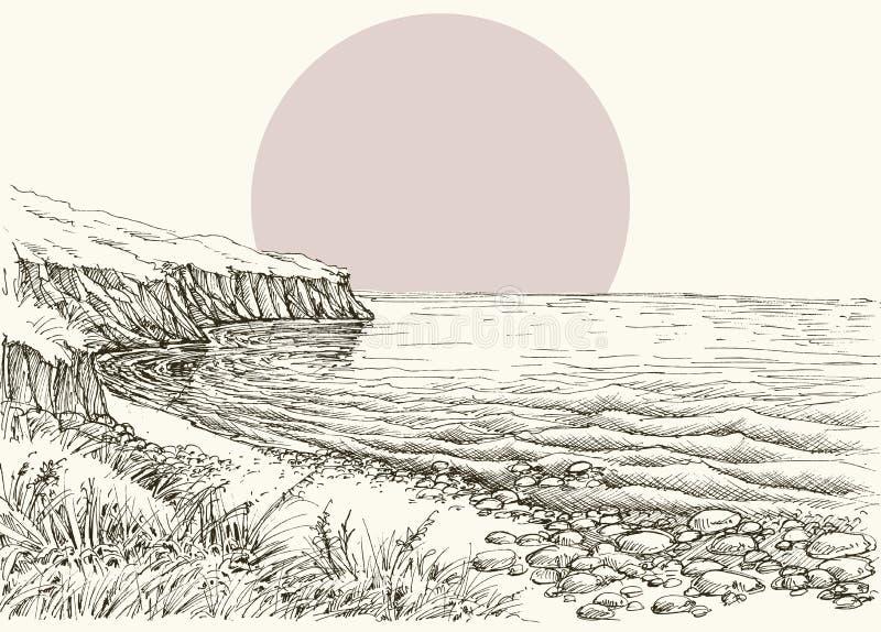 Havet, stranden och klippan skissar stock illustrationer
