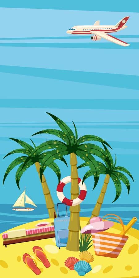 Havet vilar det vertikala begreppet för banret, tecknad filmstil royaltyfri illustrationer