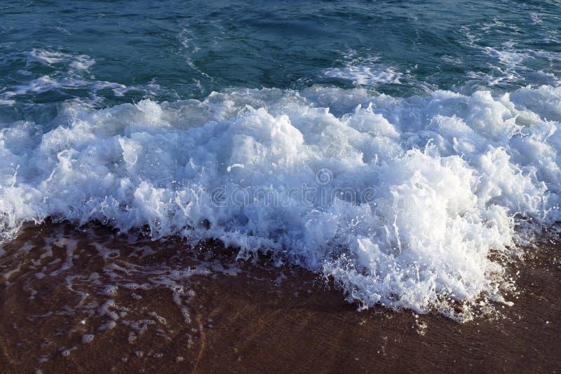 Havet vinkar på strand arkivbild